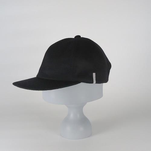 AW20-BD-10 Wool Melton 6P Cap - BLK/SIL