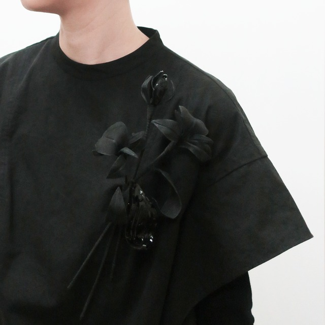 泥染/煤染/オーガニックコットン/刺繍/変形フラワーリング/L-1_DR