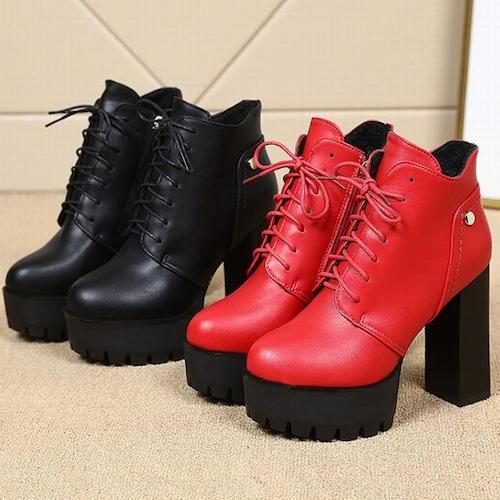 ショートブーツ 厚底 12cm ヒール シューレース サイドジップ 太ヒール 防水 プラットフォーム 韓国ファッション レディース 靴紐 ブーツ 歩きやすい 履きやすい 604321499746