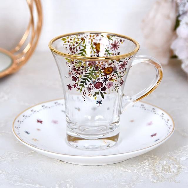 ガラスカップ&ソーサー✧‧˚お花と蝶❁⃘*.゚