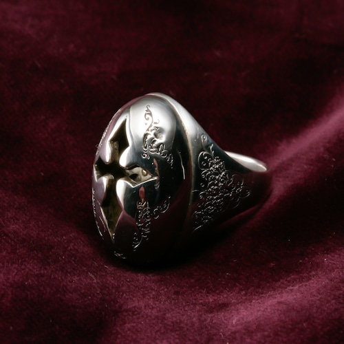 Neo-Byzantine Dome Double Cross Ring