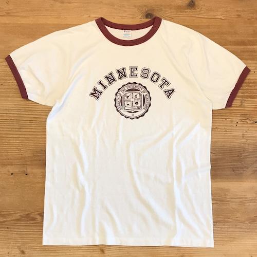 【USED】80s Champion チャンピオン リングTシャツ リンガーTシャツ 染み込み カレッジプリント ロゴ ホワイト×ワイン MINESOTA