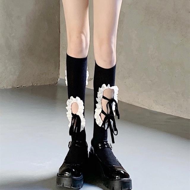 pierced lace ribbon socks 4c's