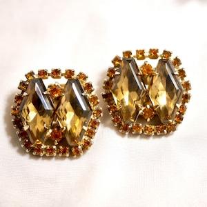 Brown glass clip-on earrings