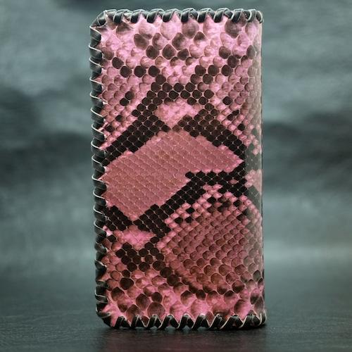 ピンク染めダイアモンドパイソン・ロングウォレット(長財布)