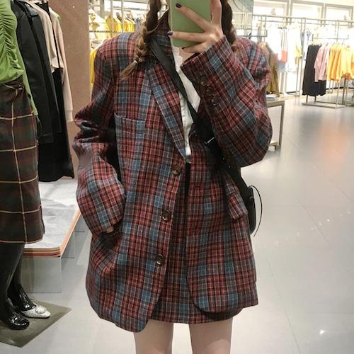 セットアップ チェック柄 ジャケット + ミニスカート 韓国ファッション レディース シングルボタン 長袖 スカート タイトスカート ハイウエスト ウール混 レトロ / Retro plaid wool suit jacket and skirt (DTC-629757607316)