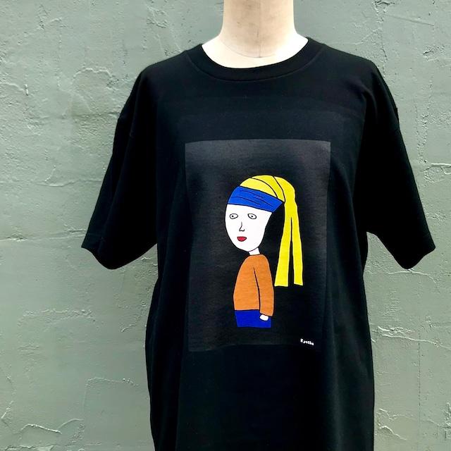 【巨匠動物園】青いハチマキの子Tシャツ(黒)