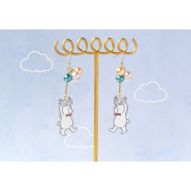 harapecora 風船で飛んできた陽気なウサギのピアス