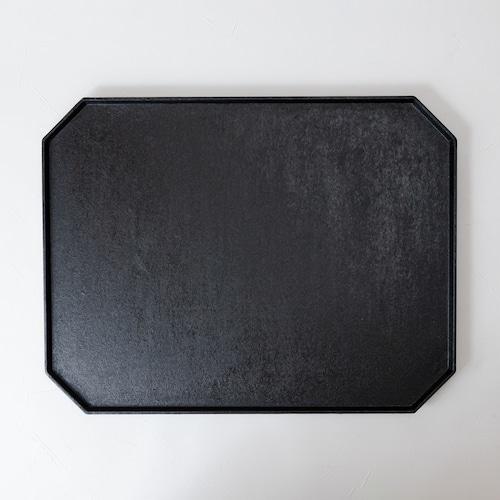 [蝶野秀紀]和紙貼八角盆(長方形)/黒