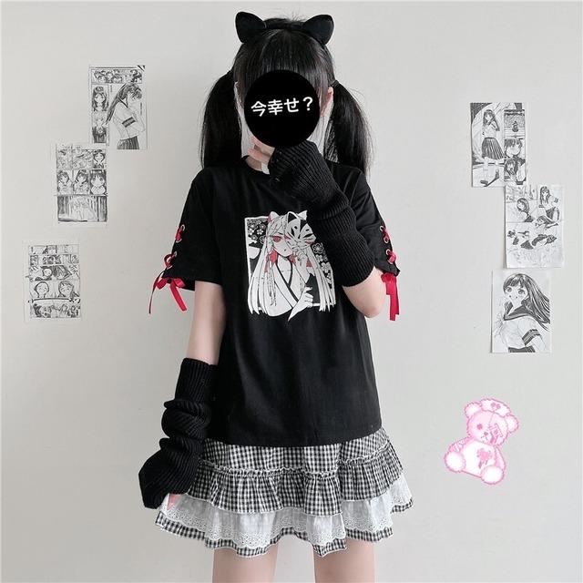 【トップス】韓国系半袖無地カジュアル狐図柄キュート少女ファションTシャツ50266037