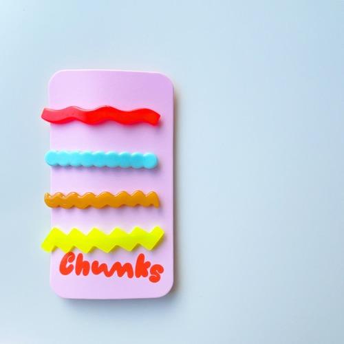 """Chunks """"Lines Barrettes"""" 4P SET  Pastel チャンクス ラインバレッタ・ヘアピン"""