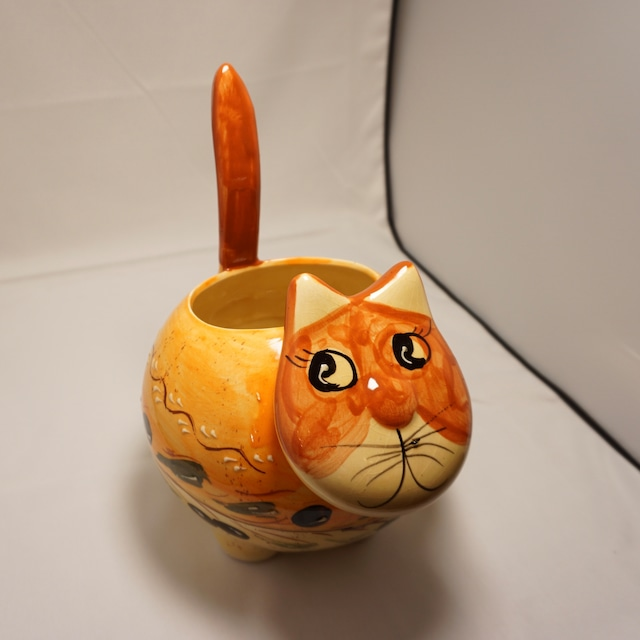 【スペイン陶器】ねこ型プランター(オレンジ)