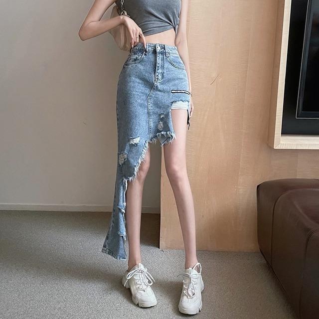 【ボトムス】不規則ダメージ加工セクシー個性的ファッションデニムスカート44690483