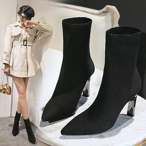 【シューズ】流行無地ハイヒール暖かい韓流ポインテッドトゥショート丈ブーツ53574643