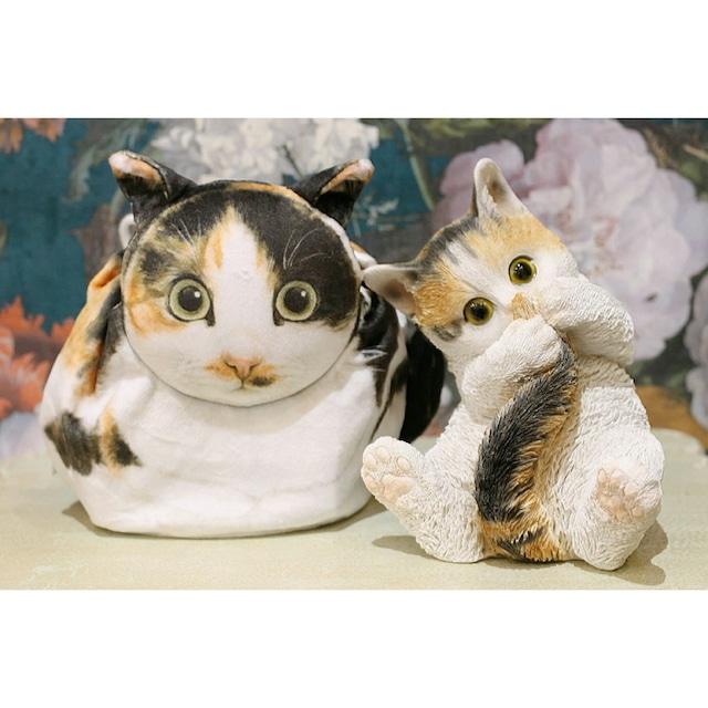 三毛ネコ/真ん丸猫の巾着袋/浜松雑貨屋 C0pernicus