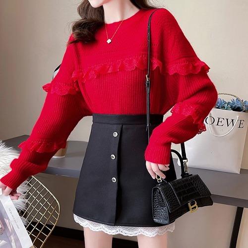 2色/スカラップレース飾りセーター ・18610