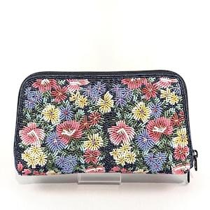 お財布バッグ174紺紺花柄ビーズ刺繍