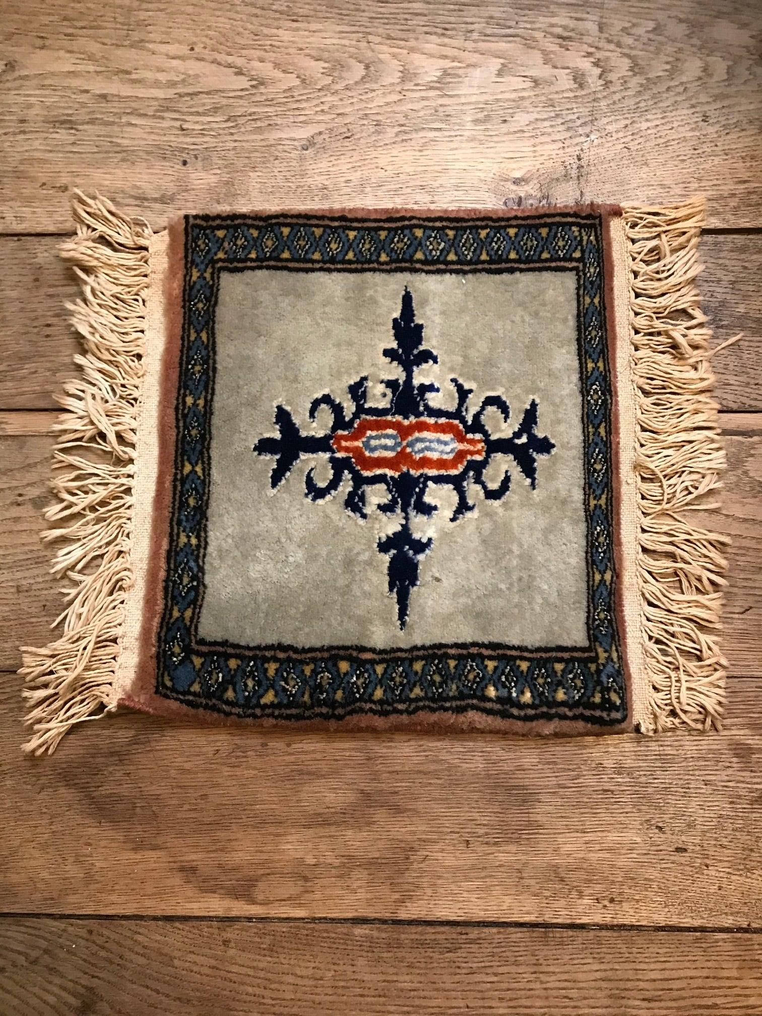 ビンテージ 手織り ミニラグマット