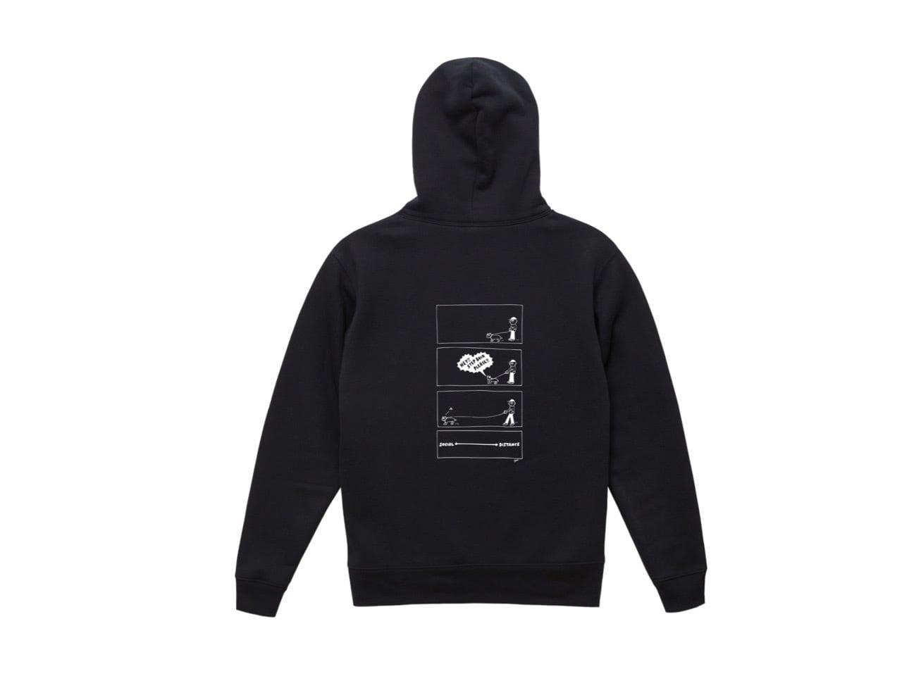 SHI × coguchi Dog SD hoodie (BLK/WH)