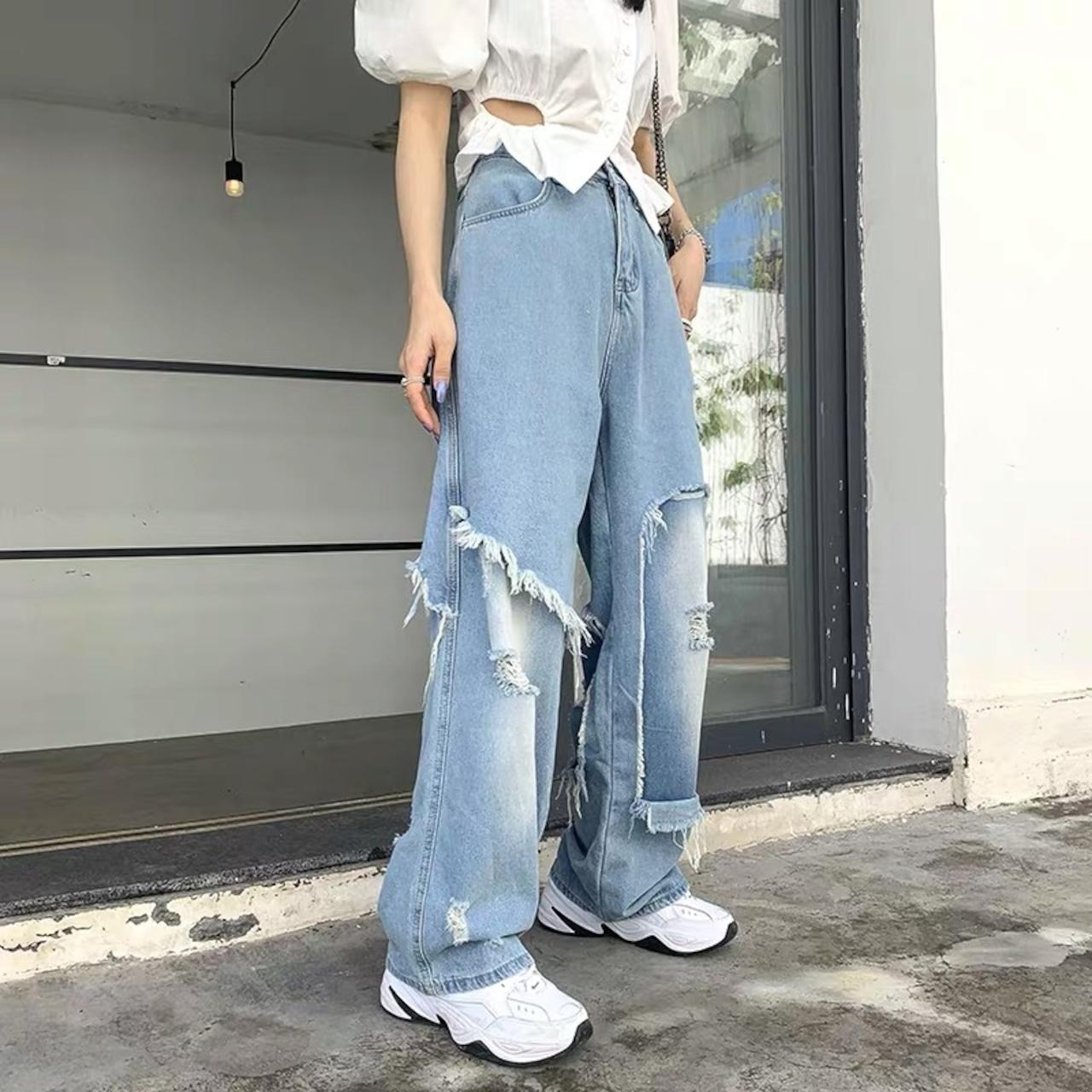 high damage denim pants