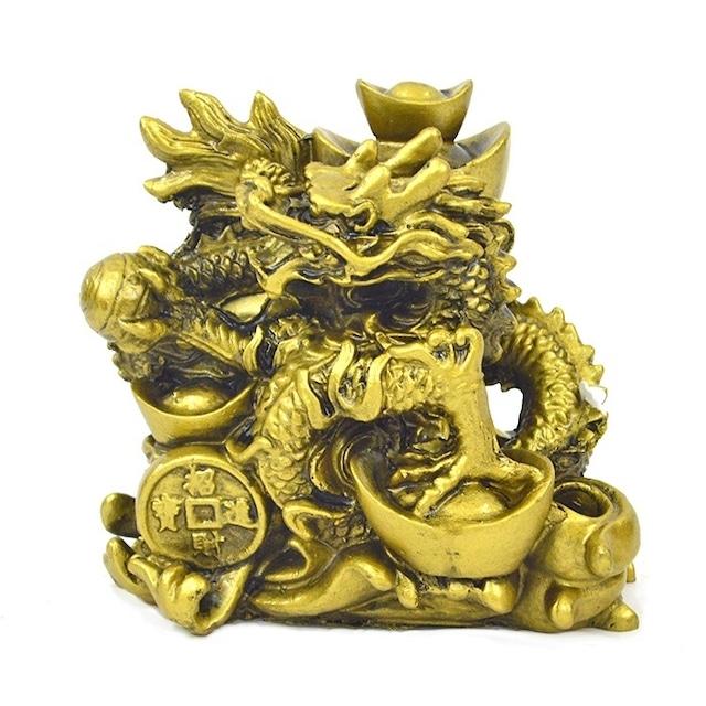 龍 S18173 高さ10.5cm ゴールド 金 如意宝珠 置物 財運アップ 金運アップ 開運 商売繁盛 厄除け 富貴吉祥 竜
