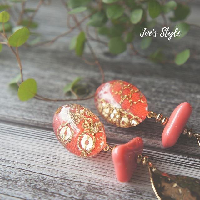 """ Earrings NO.0-1820″ エスニックリボン"