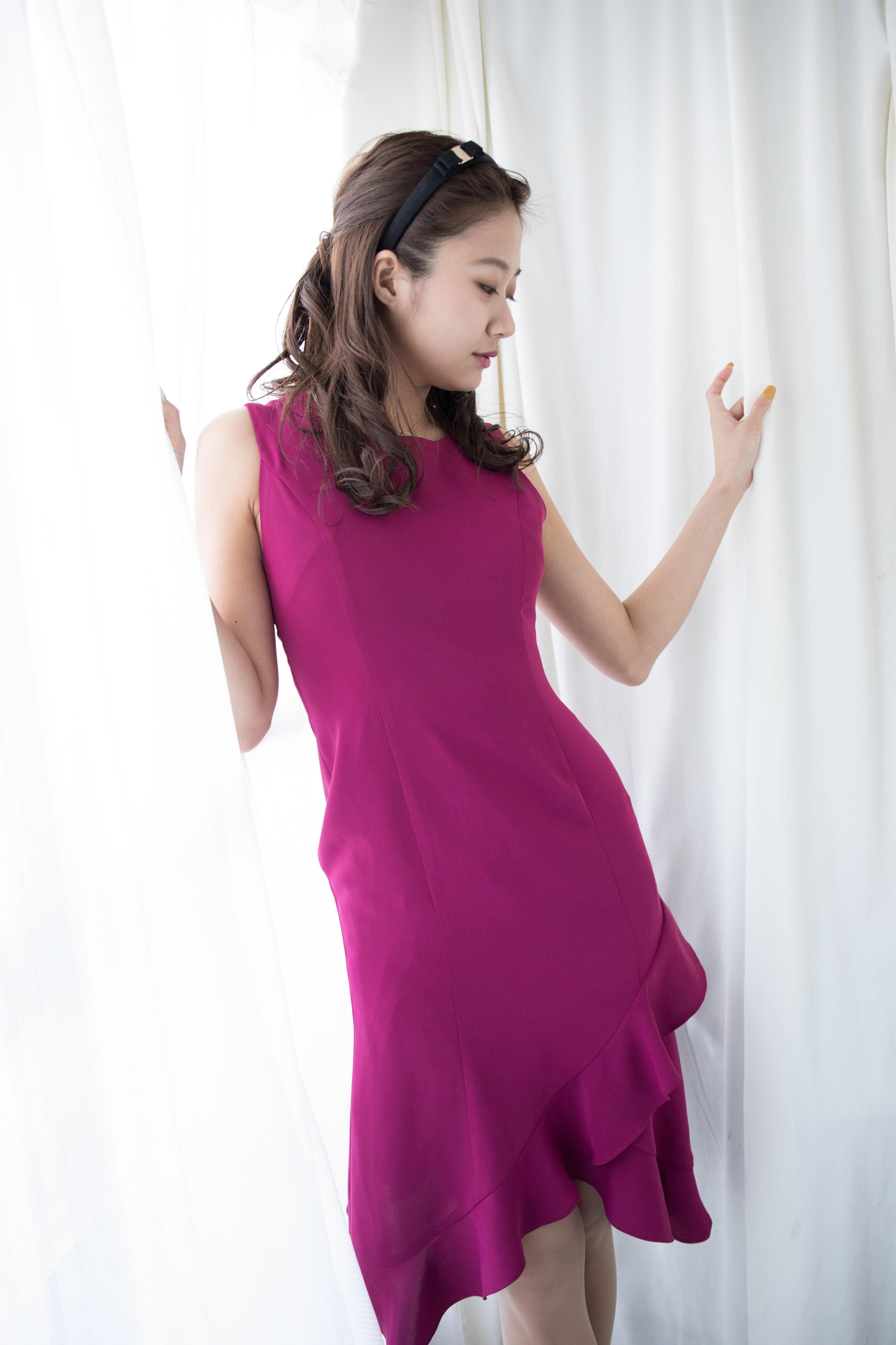 asymmetry mermaid dress PNK