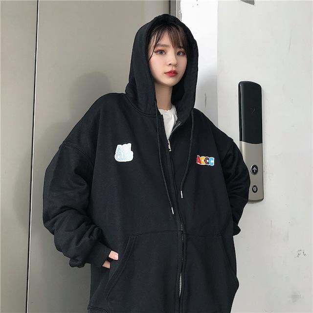【アウター】ファッション無地コットン長袖ファスナーフード付きジャケット43011152