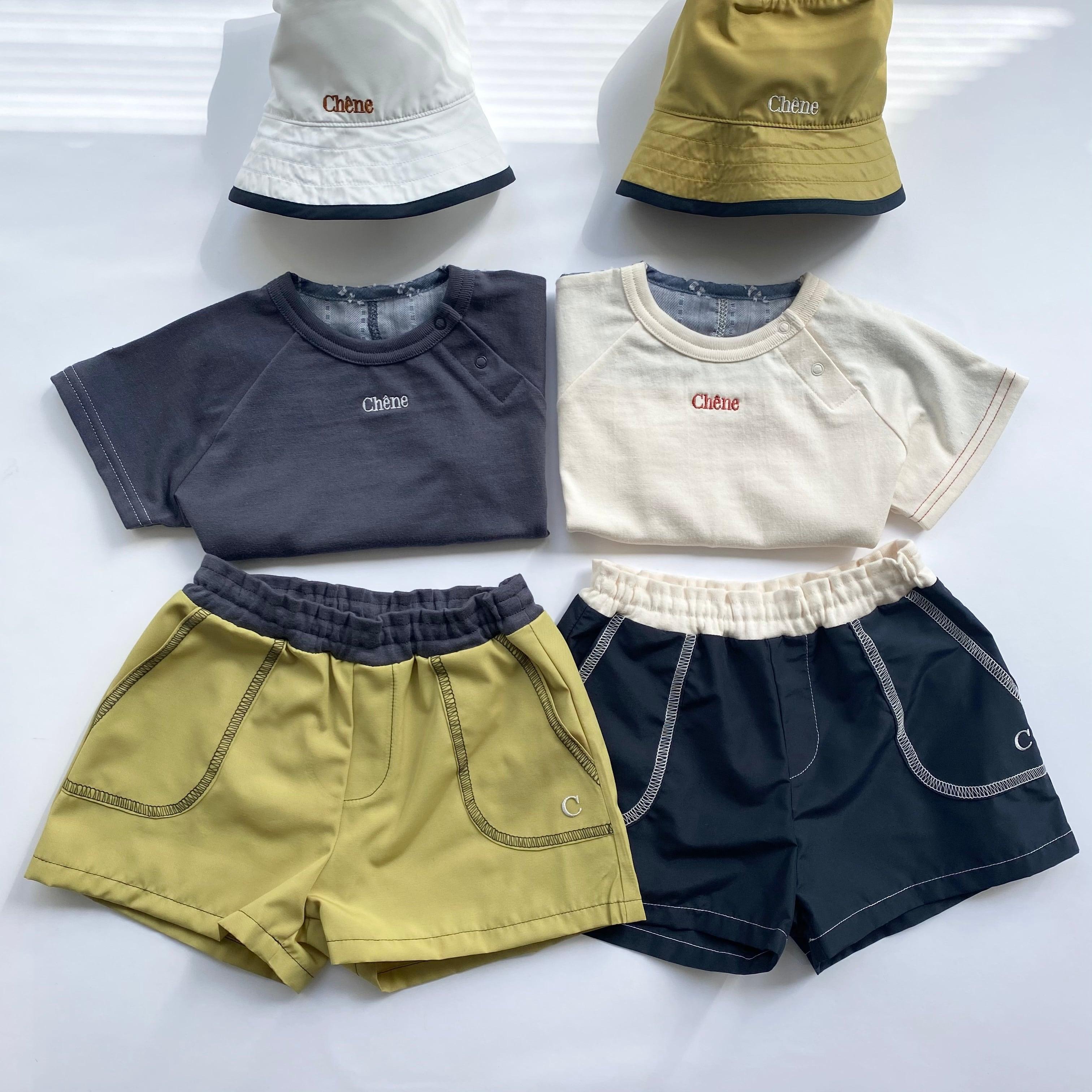 【ベビー服】バック切り替えTEE / チャコールグレー×ブルー / 80.90サイズ