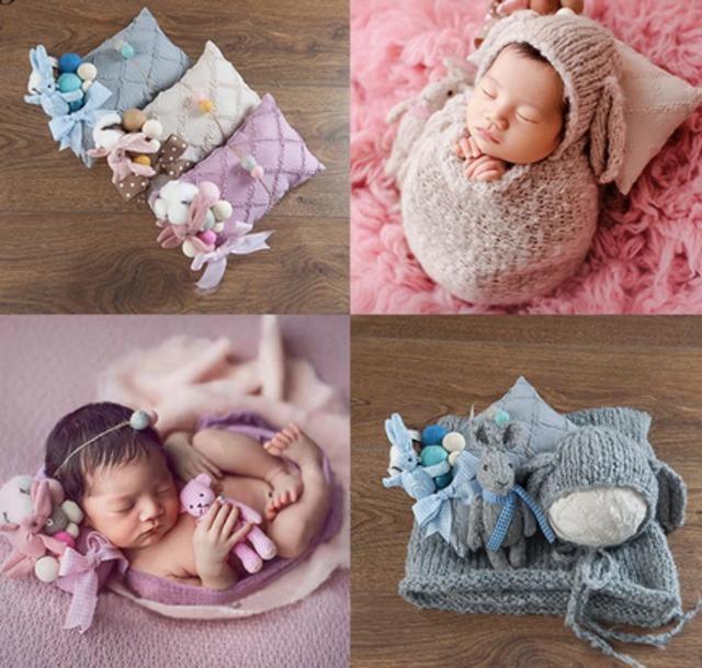 装飾たくさん♡枕&あみぐるみ&おくるみ&帽子&ヘアアクセ5セット