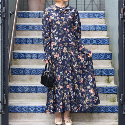 USA VINTAGE FLOWER PATTERNED LONG SLEEVE ONE PIECE/アメリカ古着花柄長袖ワンピース