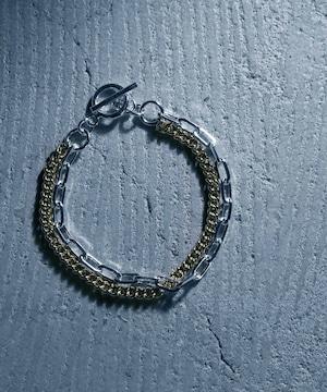 Y2010KHB0905【YArKA/ヤーカ】silver925 flat & oval chain bracelet [F918]/喜平&楕円ミックスブレスレット シルバー925