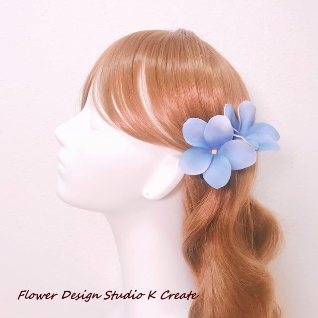 ウェディング&フラダンスに♡プルメリアのUピン(水色:1本) アーティフィシャルフラワー 造花 ハワイ挙式 髪飾り 浴衣