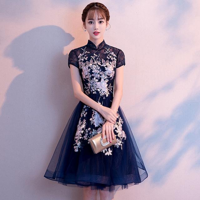改良型チャイナドレス 二次会 女子会 同窓会 成人式 刺繍入り 大きいサイズ S M L LL 3L ネイビー