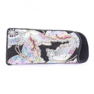 眼鏡ケース 081 黒蝶 ビーズ刺繍