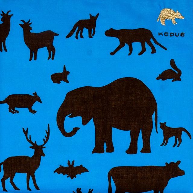 ひびのこづえ ハンカチ 動物 / ブルー 刺繍入り 2枚合わせ 48x48cm KH07-01
