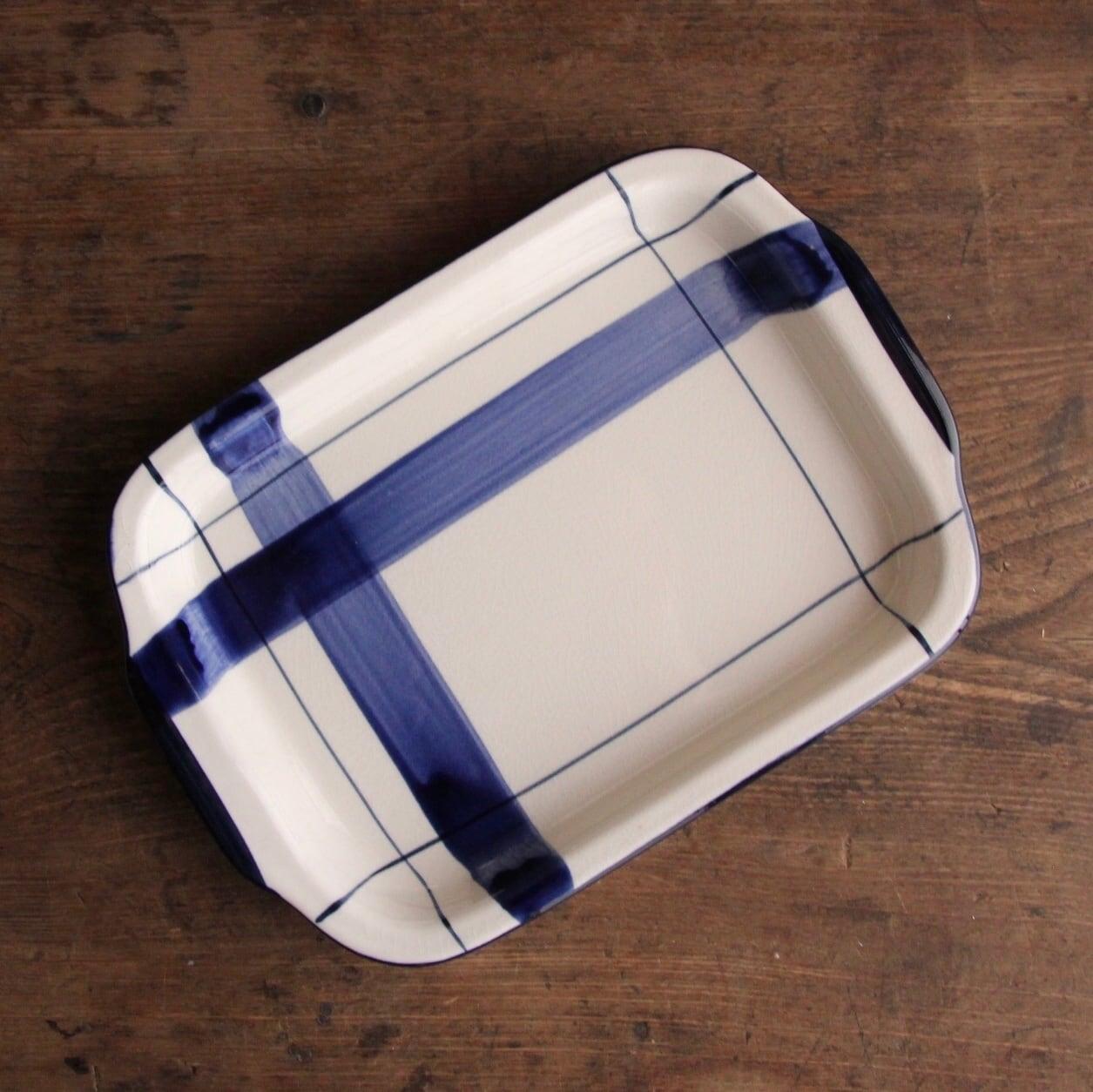 青の刷毛引き レトロなカフェプレート