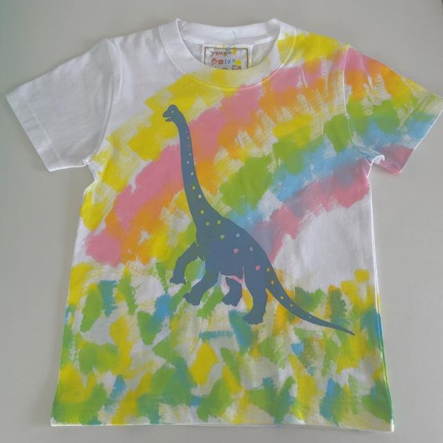 受注制作kidsTシャツ「虹とブラキオサウルス」100cm~140対応