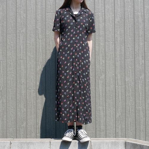 【USED】花柄 ガウン 前開き ワンピース レーヨン 半袖 ロング丈