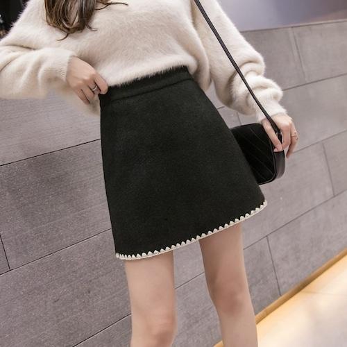 裾デザインウールスカート ・19680