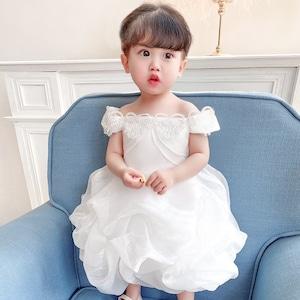 子供ドレス キッズ ベビー ジュニア 女の子ドレス フォーマルドレス パーティードレス 赤ちゃん 出産祝い お宮参り 新生児 ベージュ70cm-120cm 8344