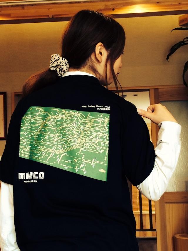 moeco Tシャツ 東京回路線図  (色 ブラック) 【東京回路線図A5クリアファイルをプレゼント】