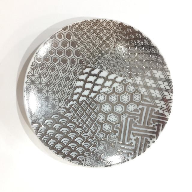 銀彩地紋尽くし 小皿