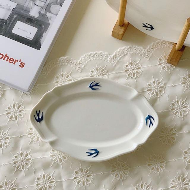 【即納】 Swallow oval plate (M) / プレート /  韓国インテリア / kr-6