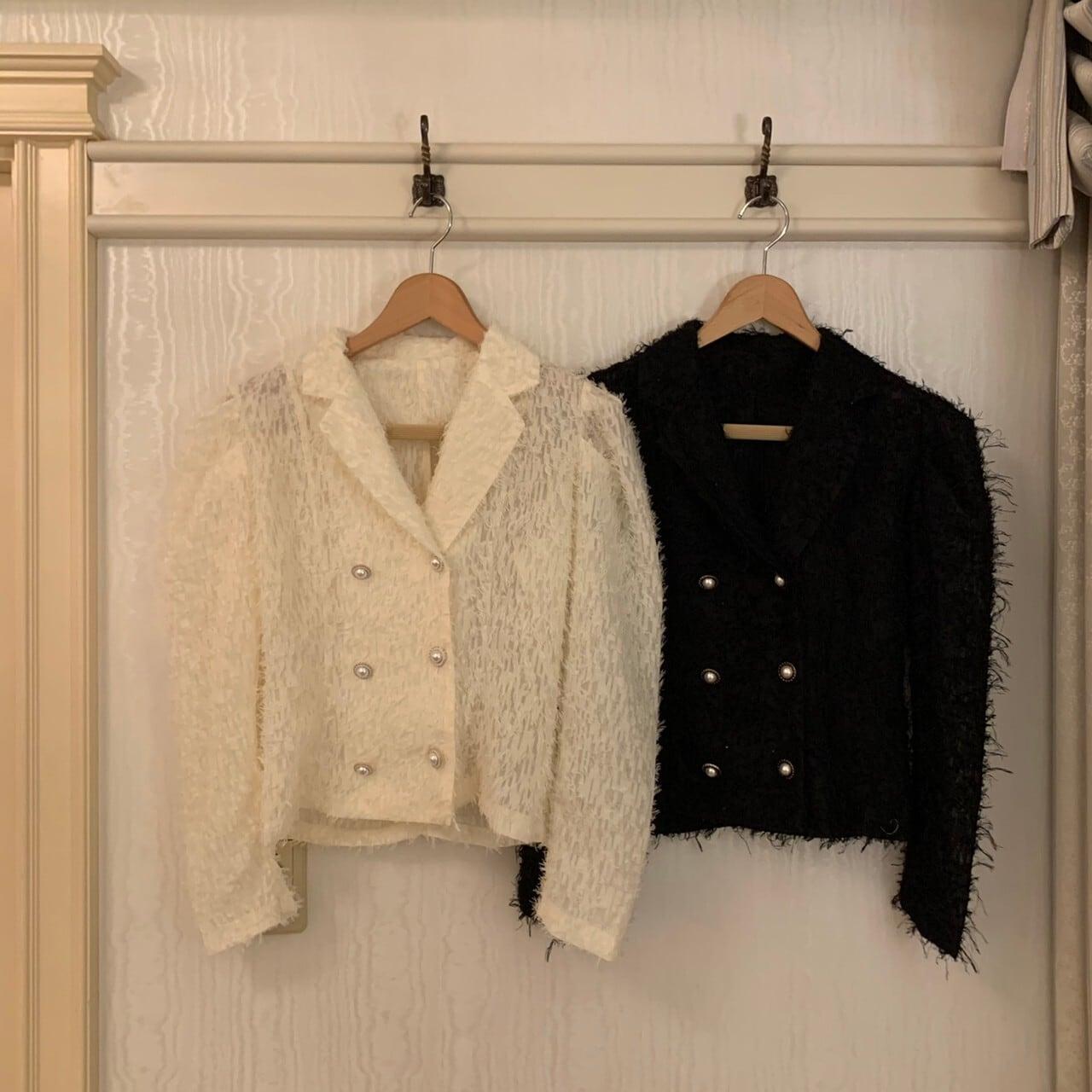 【Belle】pearl button blouse / black