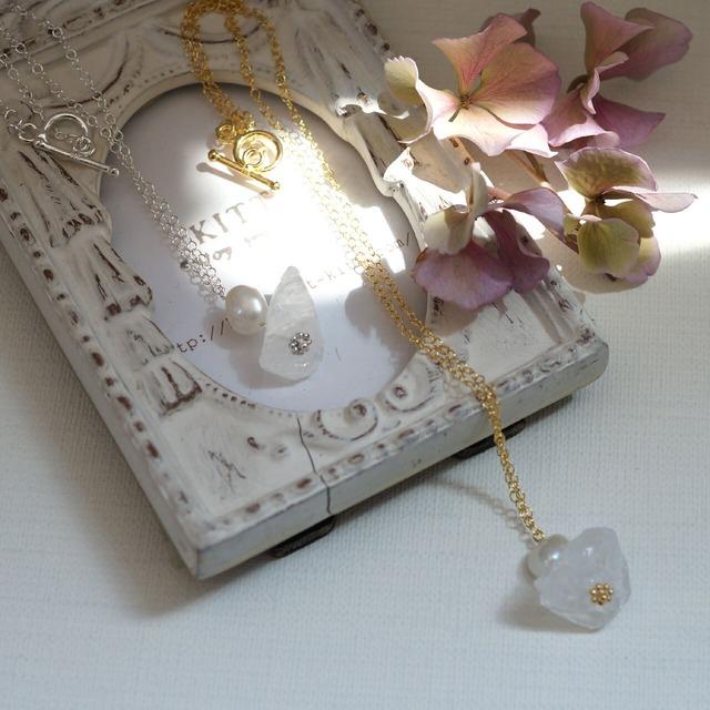 4月、6月の誕生石 真珠とクリスタルネックレス かに座の石*kitt