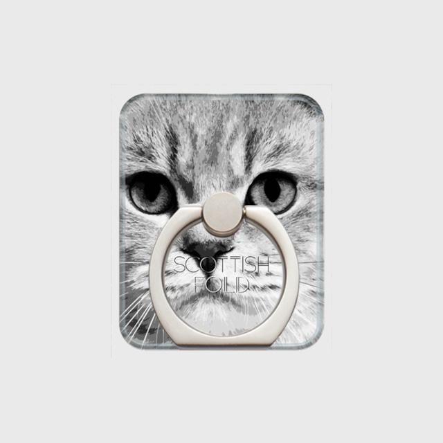 スコティッシュフォールド おしゃれな猫スマホリング【IMPACT -shirokuro- 】