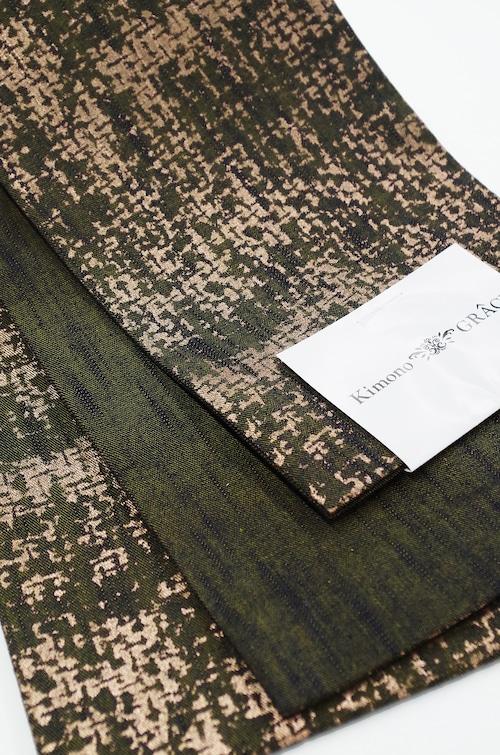グラースオリジナル小袋帯/半巾帯 箔プリントデニム イエローA