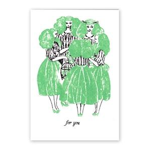 【残りわずか】手刷りポストカード 女達と鳥籠
