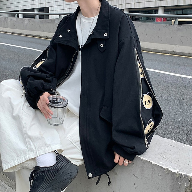 【港島印象シリーズ】★ジャケット★ 3color 黒orベージュor青 男女兼用 カップル服 袖にパンダがある ファッション